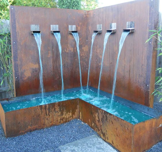 L Shape Water Feature Made From Rusted Sheet Metal With Custom Made Water Spouts Water