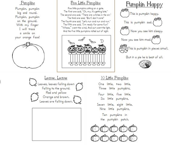 Calendar Poems For Kindergarten : Aloha kindergarten poetry journals october poems