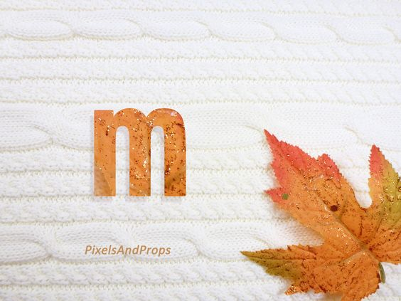 Lowercase letter m with glitter leaf and sweater knit. #fall #autumn #alphabet #typography #initial #monogram #font | maple leaf