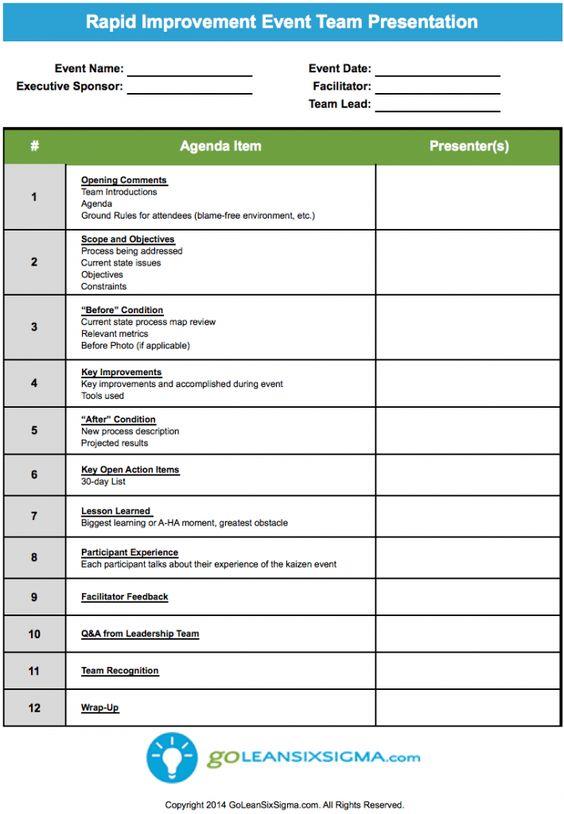 SIPOC Presentationppt Process Design Pinterest Project - event agenda