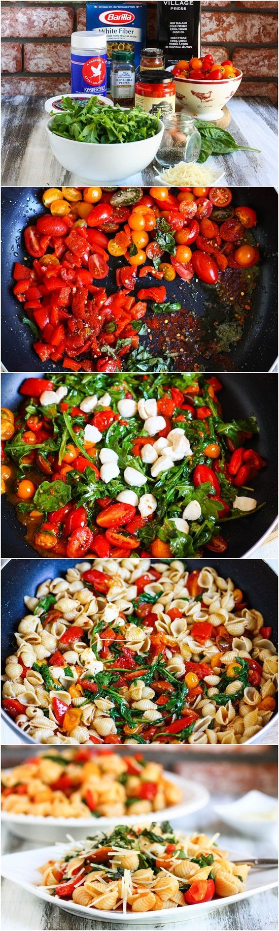 Tomato, Roasted Pepper and Arugula Pasta: