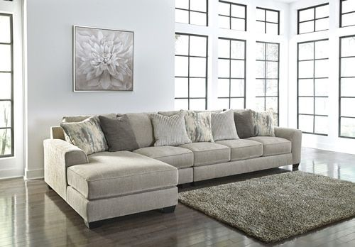 Ardsley Pewter Left Arm Facing Extended Sofa Chaise Couch With