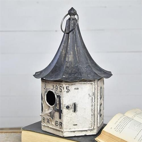 White Reproduction License Plate Birdhouse Bird Houses Antique Farmhouse Antique Decor