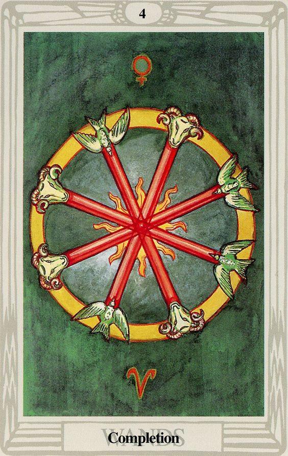 4 de bâtons (Completion) - Tarot Thoth par Aleister Crowley