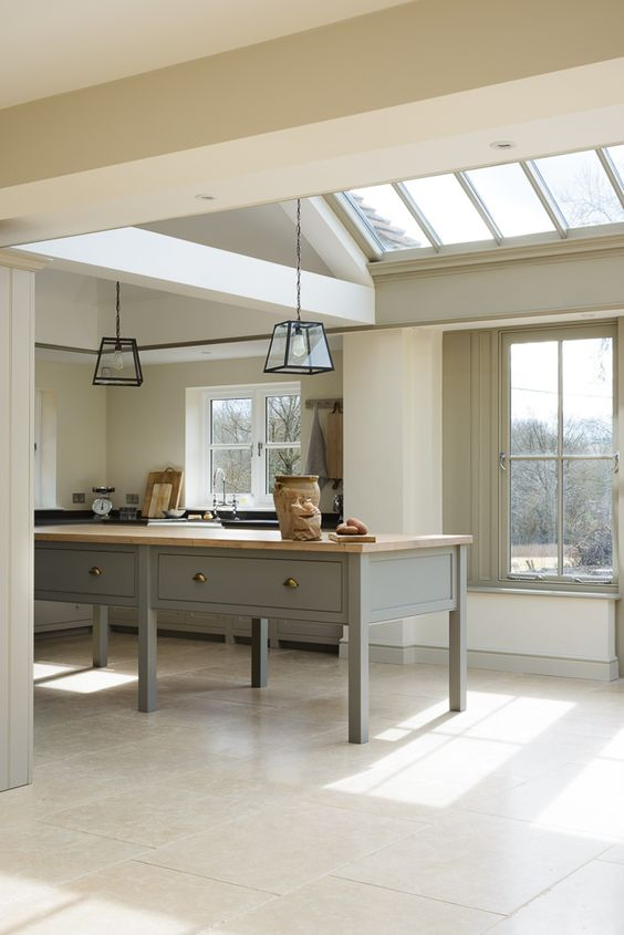 The West Sussex Kitchen by deVOL features a beautiful Prep Table
