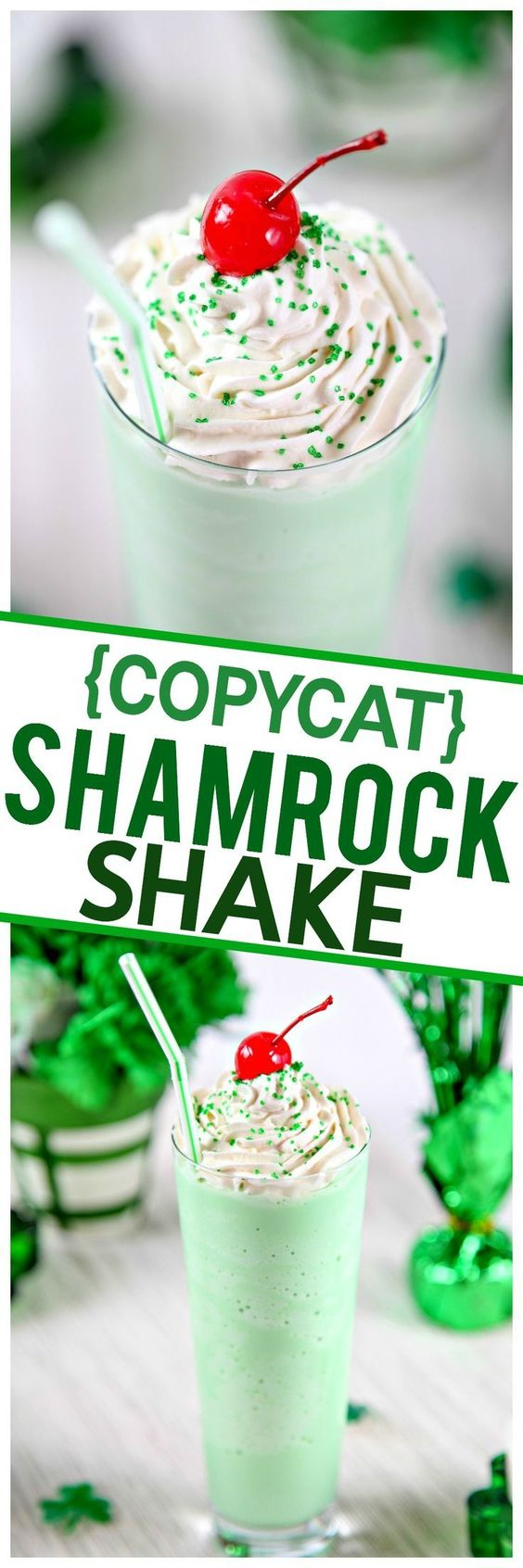 {COPYCAT} Homemade Shamrock Shake Recipe via Baking Beauty - Cool and creamy mint shake that tastes just like McDonald's Shamrock Shakes. Only 4 simple ingredients, no blender required! #easystpatricksdaydesserts #stpatricksday #stpatricksdayparty #stpatricksdaypartyfood #lucky #luckygreen #luckytreats #shamrocks #clovers #rainbowtreats #leprechantreats