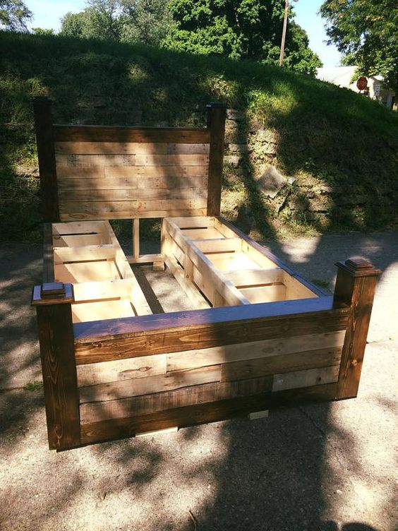 Pallet wood bed frame with drawers by ericsrusticinteriors for How to make a pallet bed with drawers