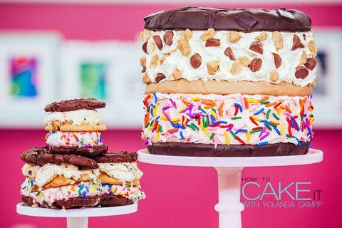 Ice Cream Sandwich Cake with Giant Cookies Sandwiching Buttercream Cov ...