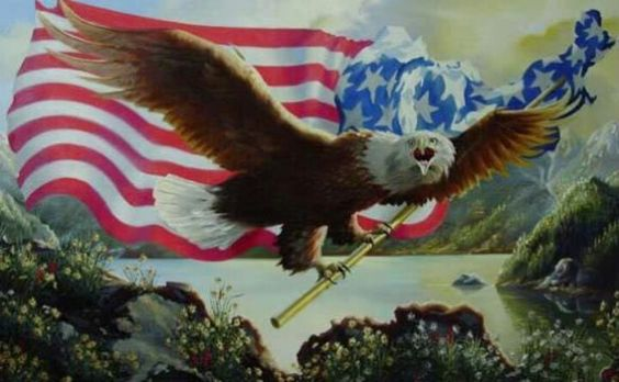 country flags with eagles