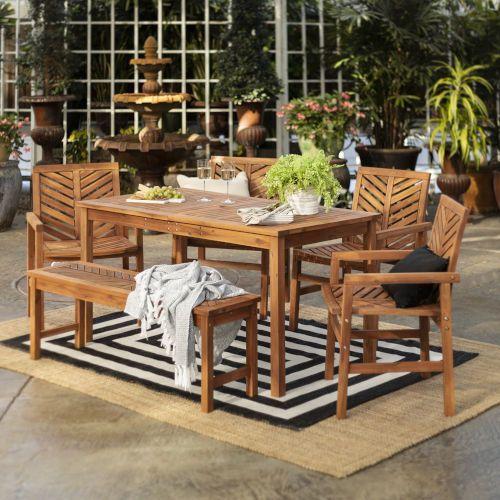 Walker Edison Furniture Co Brown 32 Inch Six Piece Chevron Outdoor Dining Set Ow6dgvinbr Bellacor Outdoor Dining Set Patio Dining Set Patio Dining Table