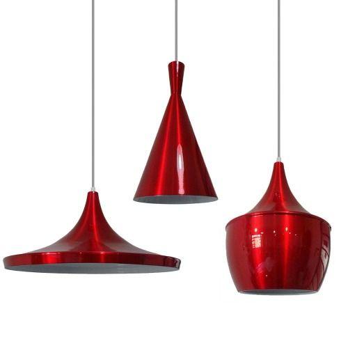 Kit 03 Pendentes Lustre Vermelho Metalico Estilo Tom Dixon - R$ 415,00