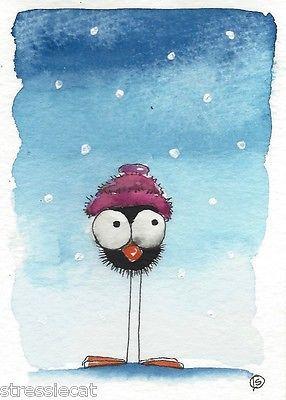 ACEO Original Watercolor Folk Art Illustration Whimsy Bird Crow Woolly Hat Snow | eBay