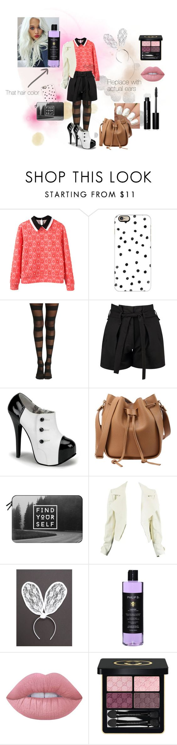 """""""Kat outfit from Wattpad story"""" by micaj on Polyvore featuring Casetify, Boohoo, Philip B, Lime Crime, Gucci and Bobbi Brown Cosmetics"""
