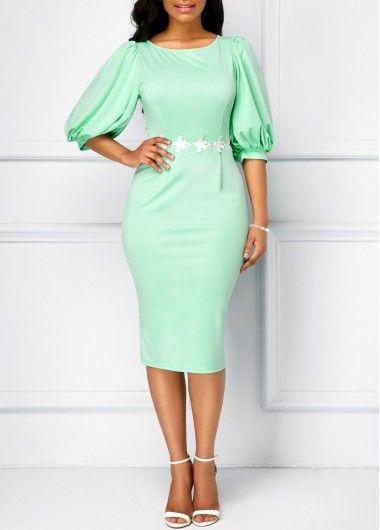 Back Slit Lantern Sleeve Mint Green Dress with cheap wholesale price, buy Back Slit Lantern Sleeve Mint Green Dress at Rotita.com !