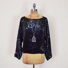 Vtg 80s Disco Glam Sequin Bead Batwing Dolman Sleeve Dress Shirt Blouse Top S M