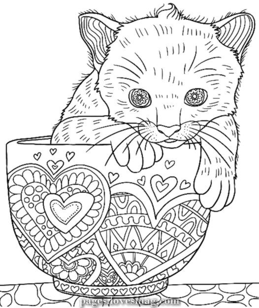Elegant Drawings Of Cute Kitten In A Cup Colormatters Coloring App Cat Coloring Book Cat Coloring Page Animal Coloring Pages