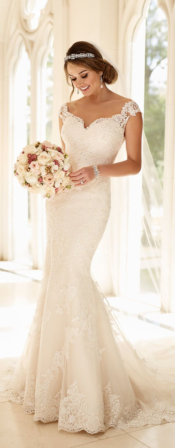 Stella York off shoulder long lace wedding dress 2016: