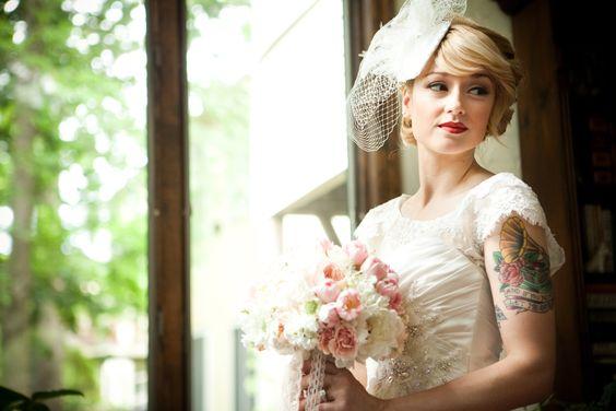 #vintage bride #wedding #lace wedding dress #birdcage veil