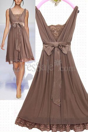 $90.99 Light Brown Illusion Short Skirt in Bowtie Sash