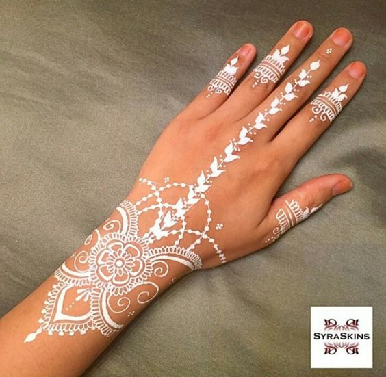 White Mehndi Tattoo : White henna pinterest ring finger middle and
