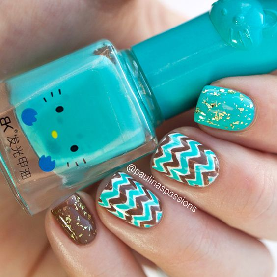 Brown & Turquoise Chevron Nails - Paulinas Passions