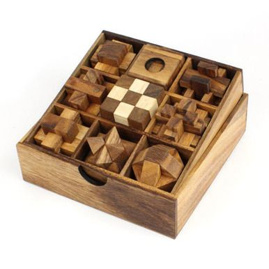 This set of nine wooden educational puzzles. Including the Star Puzzle, 3D Squares Cube, Snake Cube, Ball in Jail, a Burr Puzzle, the Soma Cube and more interlocking puzzles.