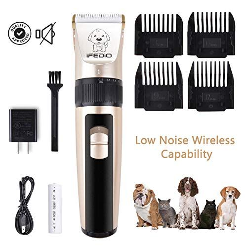 Ifedio Dog Clippers Low Noise Cordless Pet Grooming Clippers Trimmer Professional Heavy Duty Rechargeable Cat G Dog Clippers Dog Grooming Clippers Pet Grooming