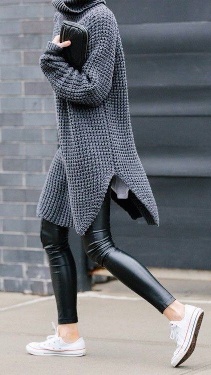 #street #style / oversized gray knit + leather: