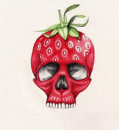 Skulls Art Prints And Strawberries On Pinterest