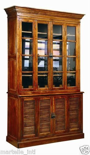 British Colonial Bookcase Shuttered Cabinet w Glass Doors Solid ...