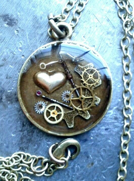 LittleHeart Steampunk Pendant no.2 by ColdGarageCreations on Etsy, $32.00