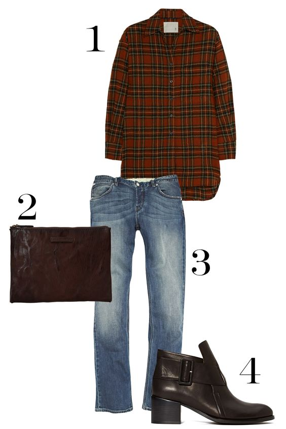 1. R13 Oversized Plaid Wool Shirt, $495; net-a-porter.com. 2. Frye Michelle Clutch, $268; zappos.com. 3. French Connection Track Denim Slim Leg Jeans, $98; frenchconnection.com. 4. Jeffrey Campbell Branson Boot, $208; nastygal.com.   - MarieClaire.com