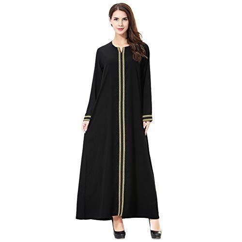 Meijunter Musulmano Abito da Donna con Hijab Vestito con Stampa Floreale Abaya Dubai Arabo Islamico Kaftan