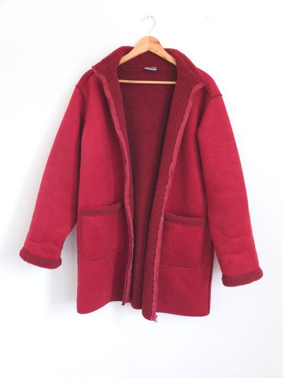 Vintage 90s Oversize Red Faux Suede Shearling Sheepskin Fleece ...