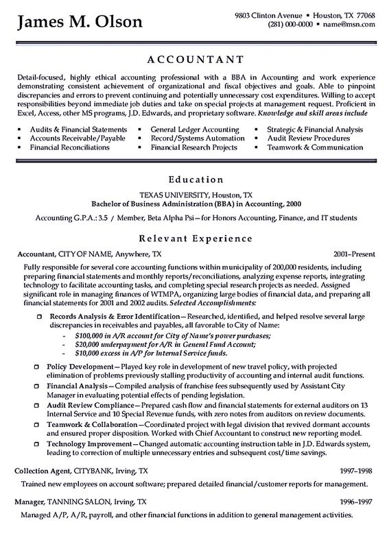 sample accounting resume writing accountant resume sample