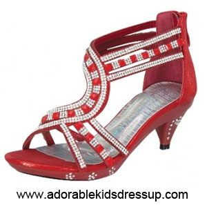 Brilliant red high heels for kids have a sparkling strappy look