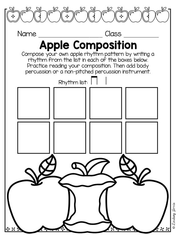 Apple Themed Elementary Music Rhythmic Composition Pages, lesson plans, and rubrics. Music Composition: Summer Rhythm Composition - Are you looking for ways to include more composition and notation opportunities for your students in your lesson? This two - day lesson will help your students feel successful in their ability to compose music while practicing notating and composing with different rhythms. #elmused #musiceducation #kodalyinspiredclassroom