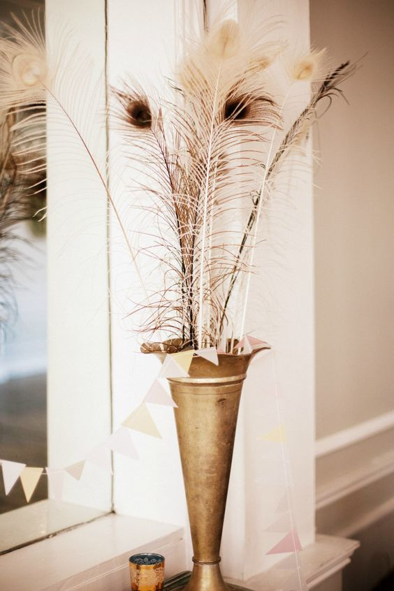 White Peacock Feathers in a gold vase ~ by Judy Pak Photography