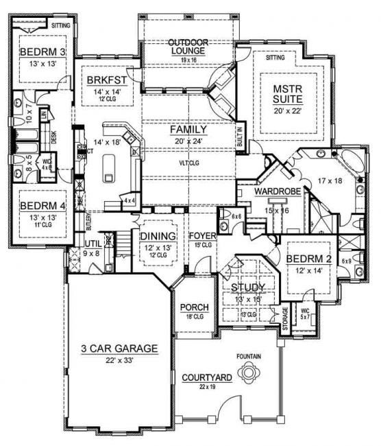 Ridgeview Ranch House Plan   Home Plans  House plans and Masters    so dining room doesn    t have the angled wall  bed as a gym or office   Ridgeview Ranch   Best Selling  Courtyard House  amp  Home Plans   Archival Designs