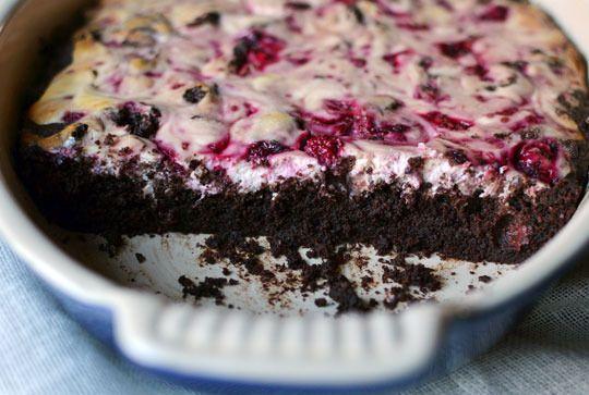 Dark Chocolate Brownies with Raspberry Goat Cheese Swirl