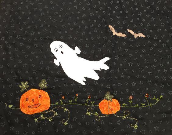 Dette Halloween motiv er syet af min kursist Gerda Christoffersen hos Speich Design i 2015.