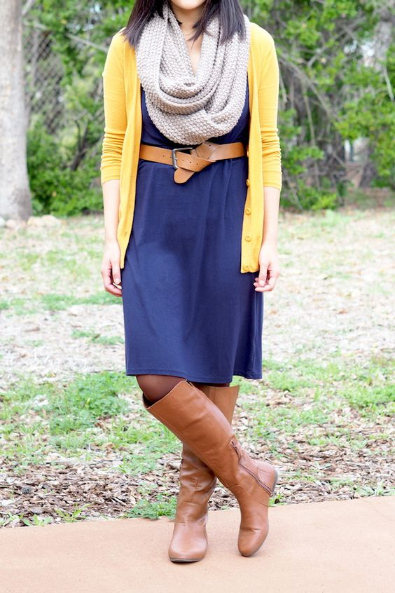 taupe blue dresses and brown boots on