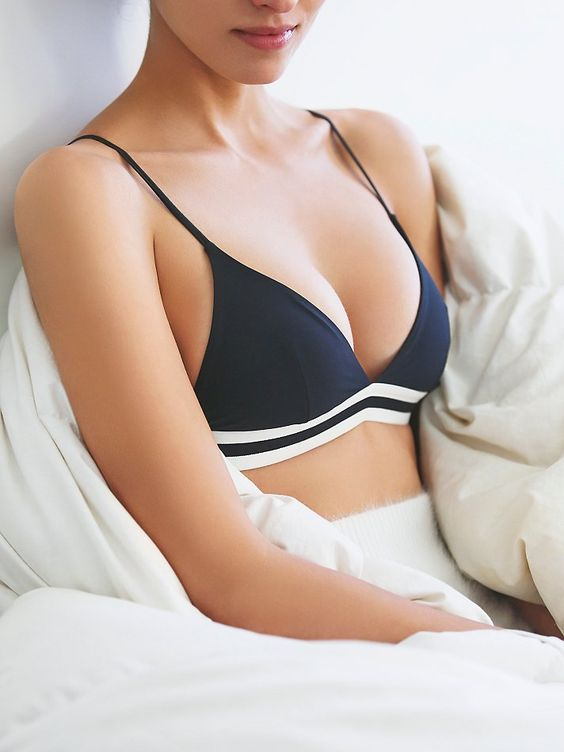 Mon Amour Bra | Sporty soft brawith a triangular cup featuring a striped elasticized band under the bust.  Hook-and-eye closure in back.  Adjustable straps.