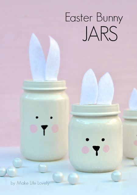 Painted Easter Bunny Jars {made from baby food jars} or just a cute DIY decor idea for a rabbit themed birthday party or baby shower: