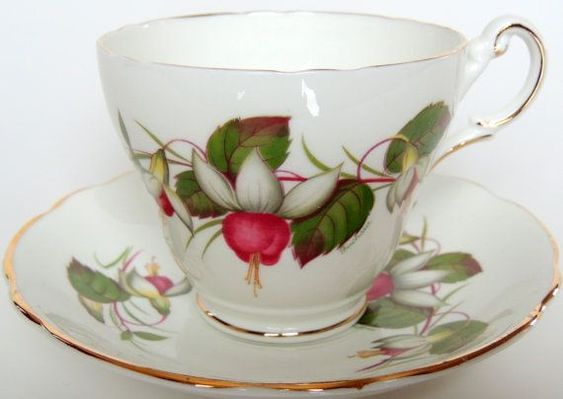 Image result for regency Tea Cup & Saucer green leaves purple