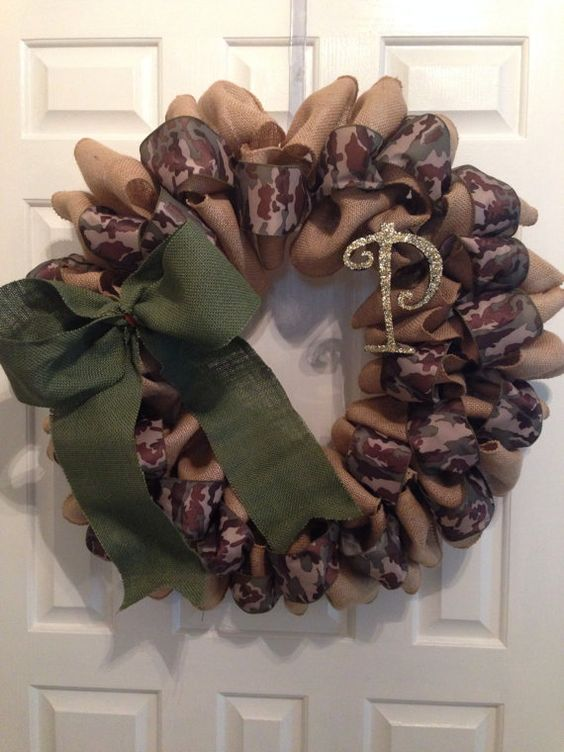 Camo Wreath With Family Initial by ShawBowtique on Etsy, $45.00