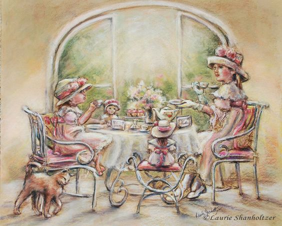 "Tea party, girls, Teatime , Big Sister, Little Sister, Dolls, English tea, print, sisters, tea. 8x10.  via Etsy.  ""Teatime With Big Sister"