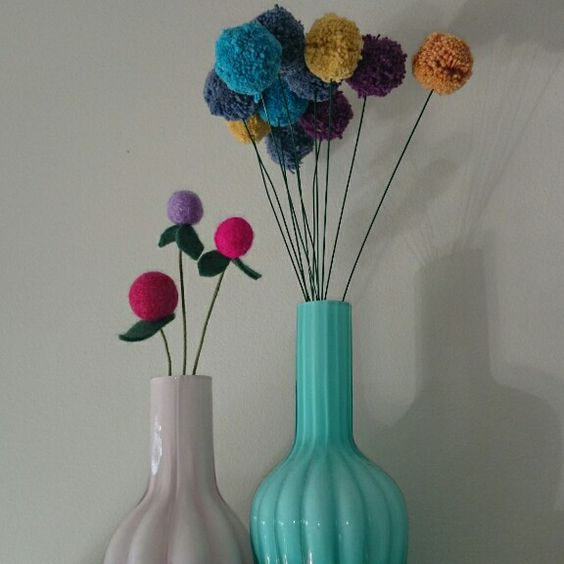 Pom pom flowers, general eclectic vases- made bye meg