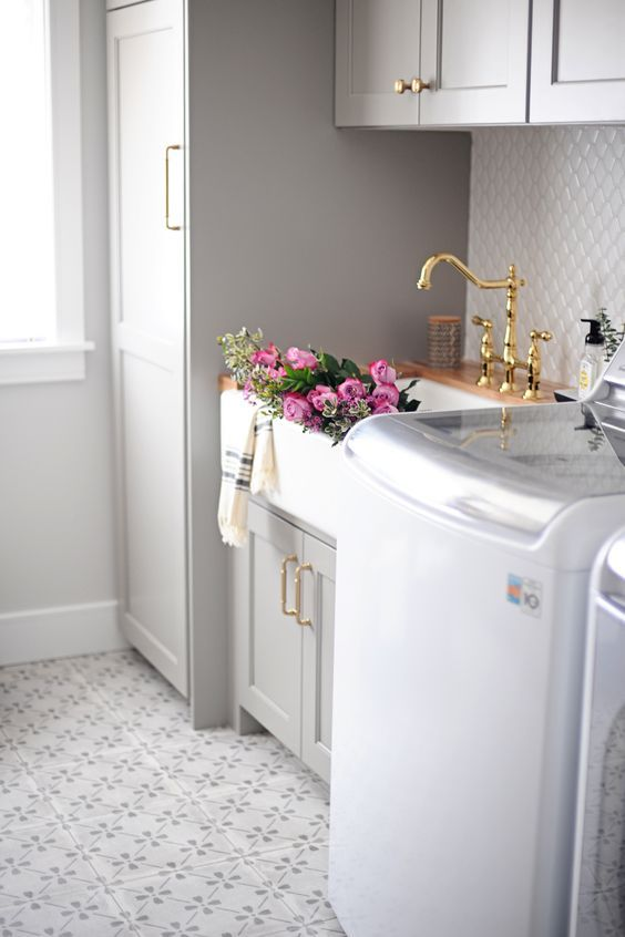 Beautiful Laundry The Farm Sink With A Gold Faucet Perfect Inspiration Greenbasements Laundry Room Remodel Laundry Room Inspiration Laundry Room Design