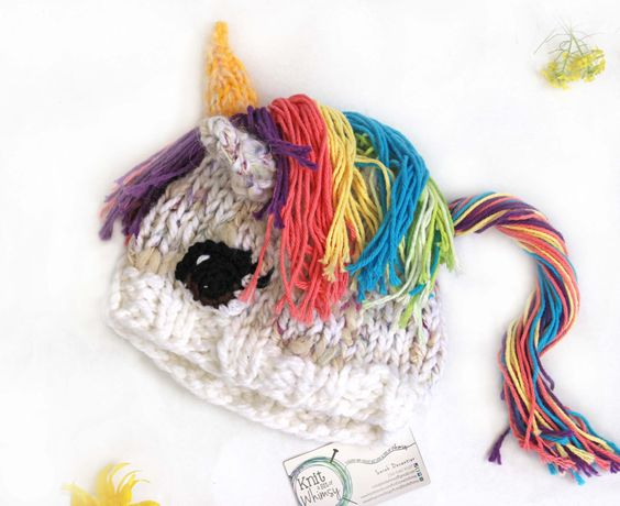 Knitting Gifts For Adults : Adult sized rainbow unicorn hat funny gift for